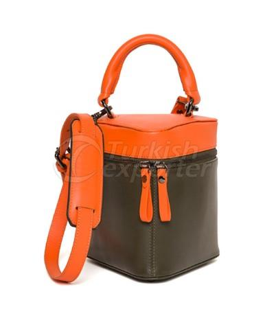 Little Bermuda Leather top handle bag Khaki-Orange