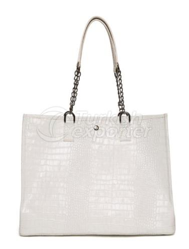 Leather Tote Bag White Alyssum JI SHOPPER