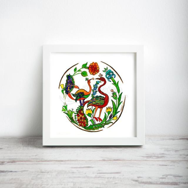 Павлин №: 3, миниатюрная художественная печать, размер 12 * 12 (30 см * 30 см)