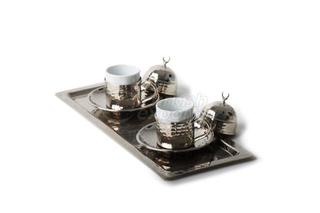 طقم قهوة تركية من النحاس ، طقم اسبريسو ، أبيض