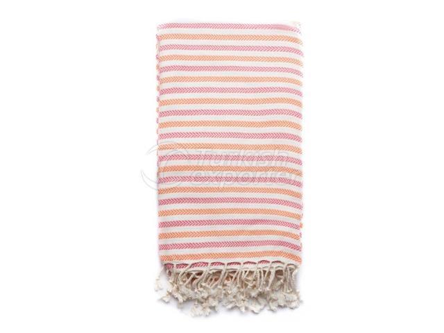 حياكة منشفة تركية ، منشفة فوط الشاطئ- Pestemal ، وردي ، برتقالي