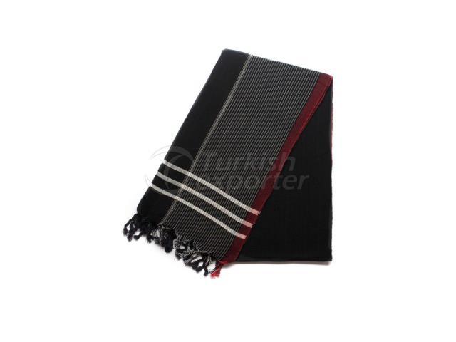 نسج منشفة تركية ، Peshtemal-Bath Towel-Shawl ، أسود ، أحمر