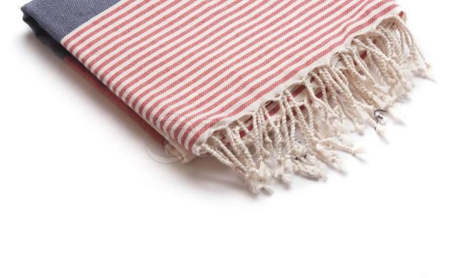 Тканое пештемало-турецкое полотенце, красное и синее, полоса