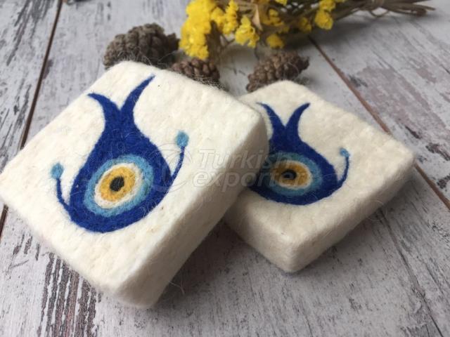 2 صابون نزار Boncuğu مجموعة مع صابون ، صابون إبرة شريط ، صابون مصنوع من الصوف اليدوي الصنع