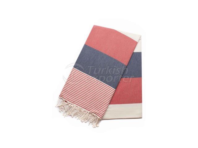 نسج Pishtemal التركية منشفة ، الأحمر والأزرق ، شريط