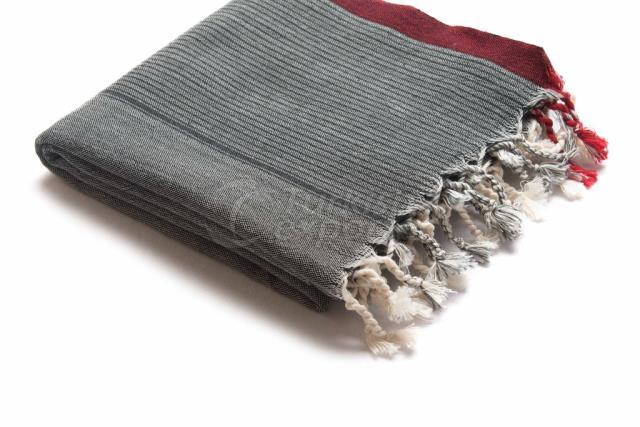 نسج منشفة تركية ، Pestemal-Beach Towel-Shawl ، رمادي ، أحمر