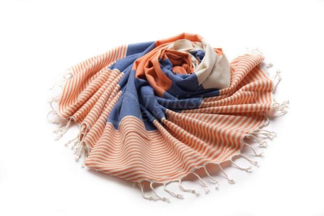 Тканое Пестеля-Турецкое Полотенце, Оранжевый и Синий, Выровненный