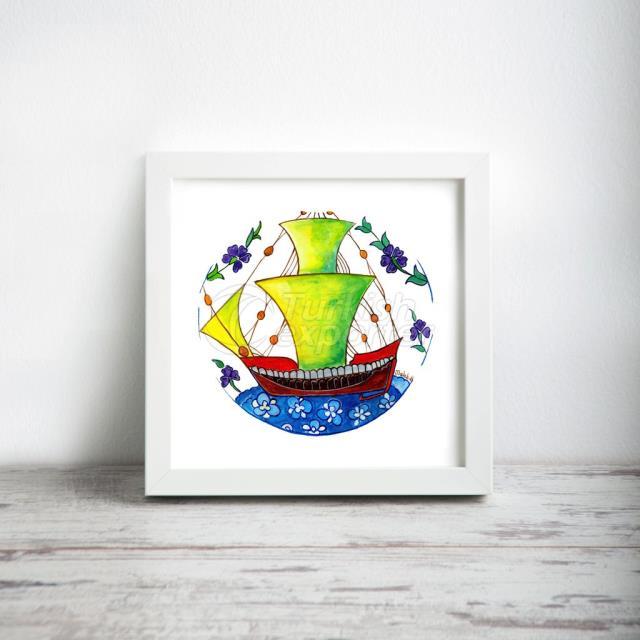 شكل السفينة رقم: 1 ، فن الطباعة المصغرة ، مقاس 12 * 12 (30 سم * 30 سم)