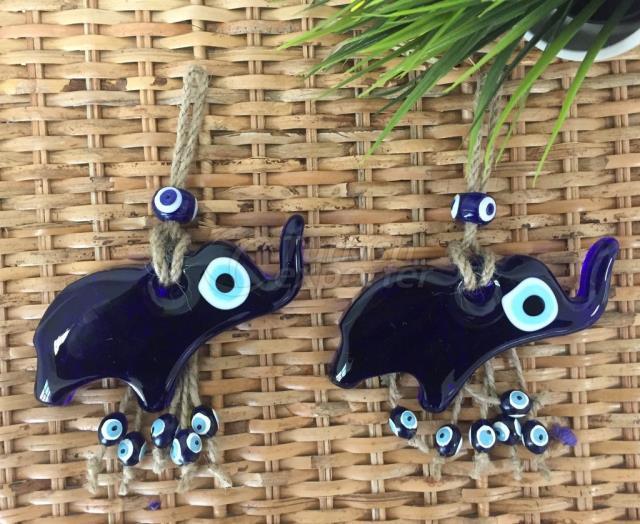 اليدوية الفيل الأزرق نزار Boncuğu ، الزجاج نزار Boncuğu الجدار الديكور