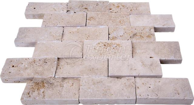 Splitface Light Travertine Mosaic 4,8x10 cm