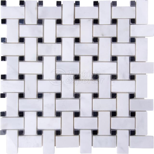 Basketweave Mosaic Mugla White Toros Black