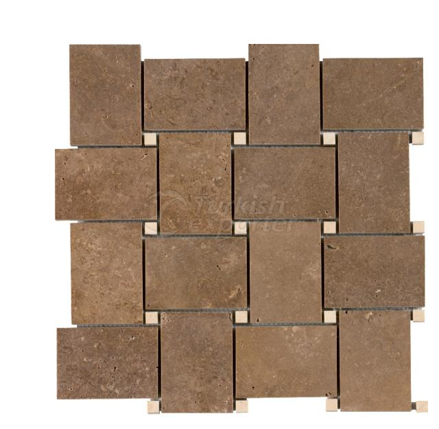 Basketweave  Large Noce Light Travertine