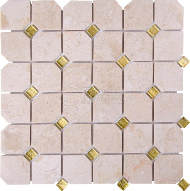 Hexagon Mosaic Bottocino Gold Glass