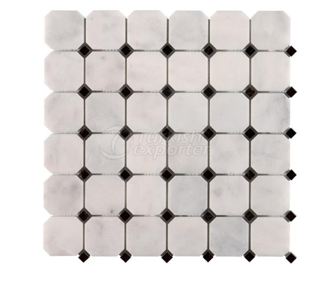 Octagon Mosaic Mugla White Toros Black