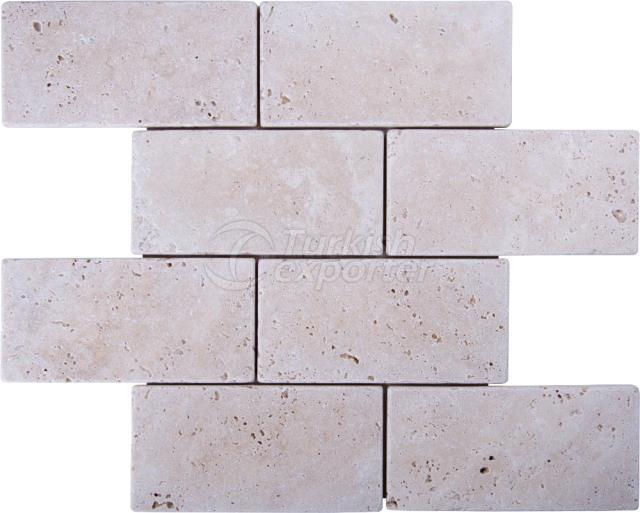 7,5x15 Light Traverten Brick Mosaic