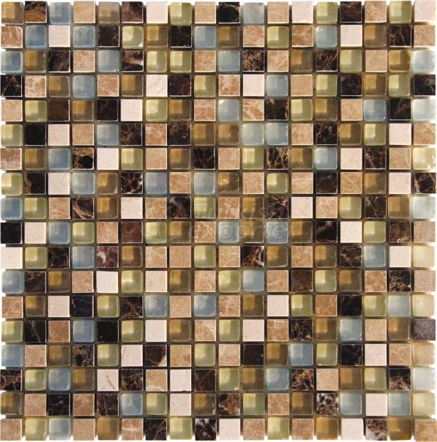 1,5x1,5 Emperador Dark Light Mosaic