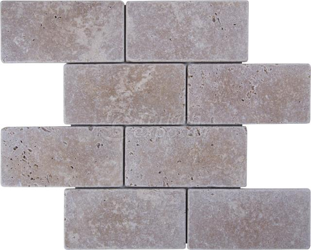 7,5x15 Noce Travertine Brick Mosaic