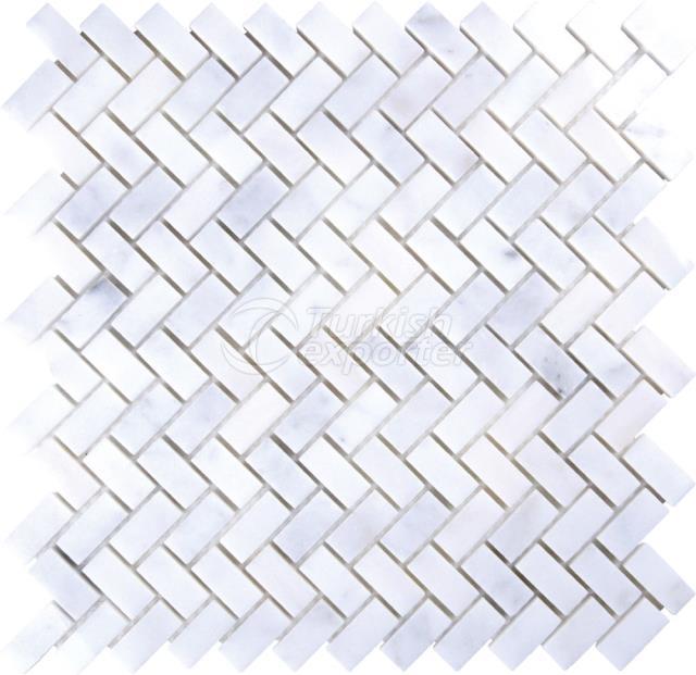 Herringbone Mosaic 1,5x3,2 Mugla White