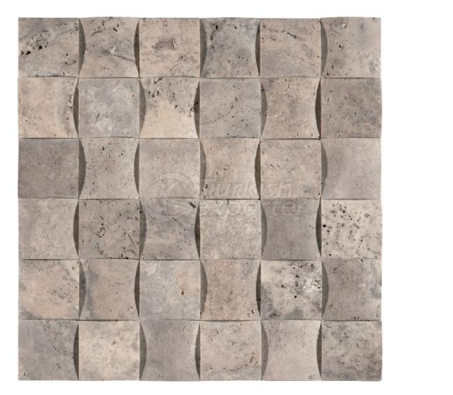 4,8x4,8 Silver Travertine Braid Mosaic