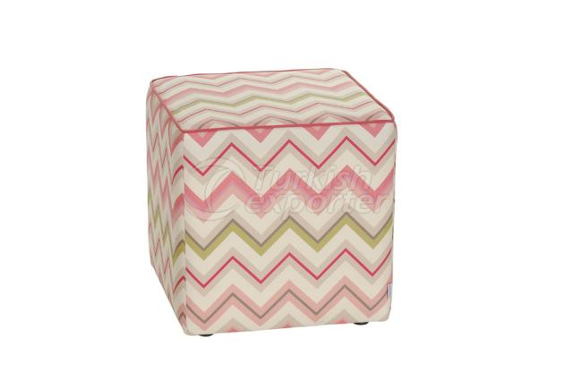 Pouf (Hassock) green and pink