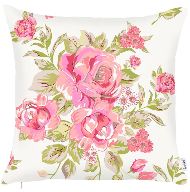 Green and pink roses pillowcase