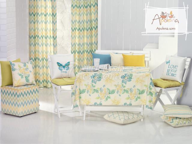 Turquoise and yellow pillowcase