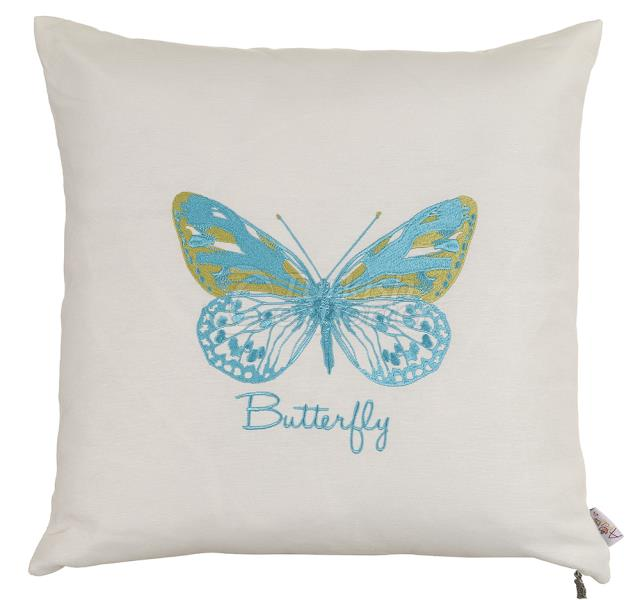 Turquoise butterfly embroidery