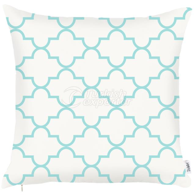 White and Turquoise pillowcase