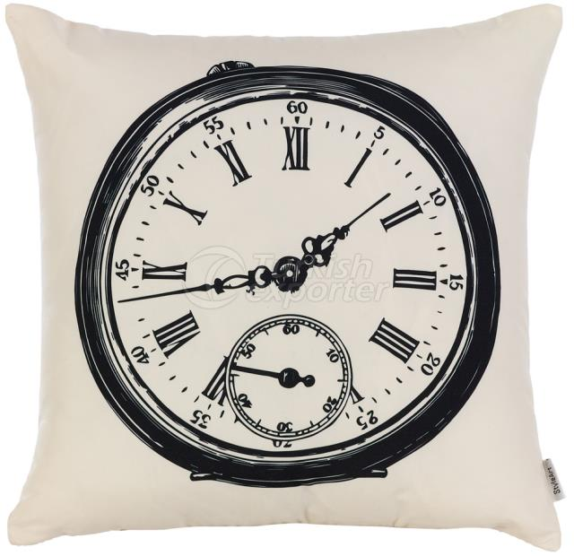 Black and white clock pillowcase