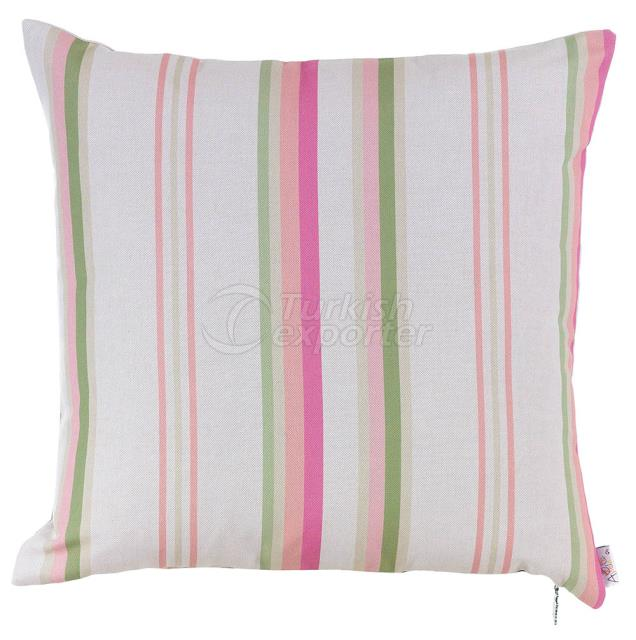Feature pink and green pillowcase